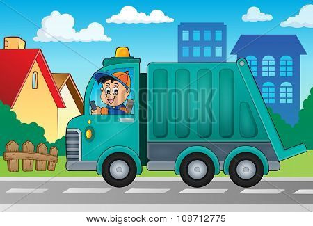 Garbage collection truck theme image 2 - eps10 vector illustration.