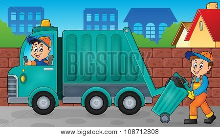 Garbage collector theme image 3 - eps10 vector illustration.