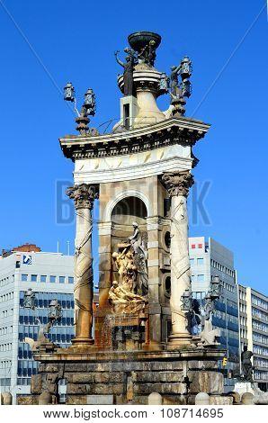 Fountain At Plaza De Espana In Barcelona