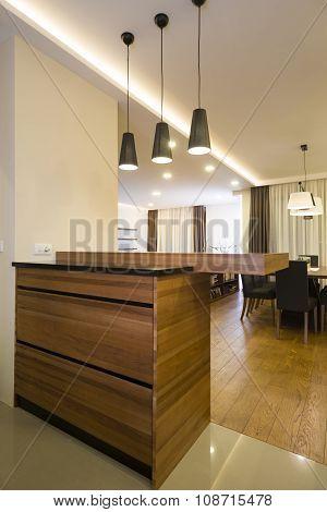 Bar In Specious Apartment Interior