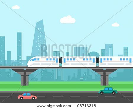 Train and cityscape. Transportation vector concept