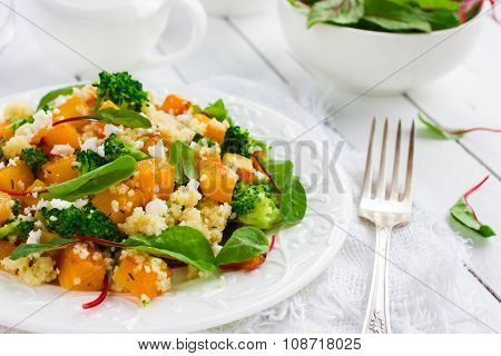 Salad With Couscous, Pumpkin, Broccoli And Feta