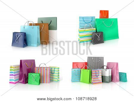 Collection Of Colored Paper Bags On A White Background.