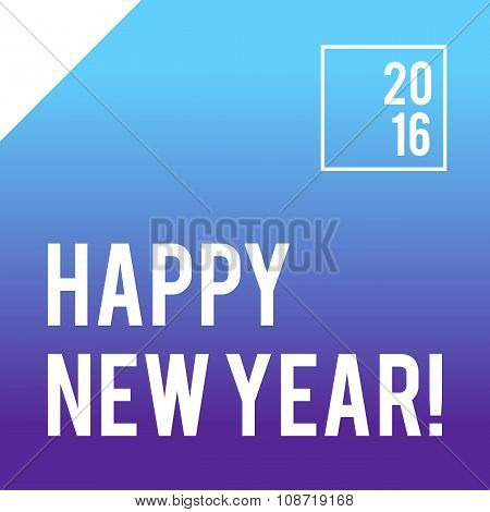 Blue square New Year card design with gradient