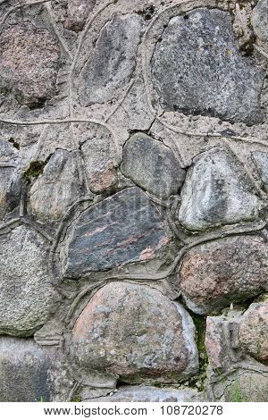 Decorative Wall Made From Large Boulders, Connected By Concrete