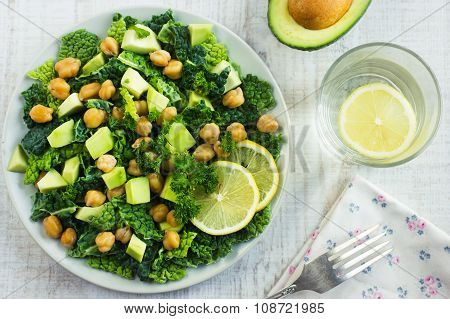 Salad With Savoy Cabbage, Avocado And Chickpeas
