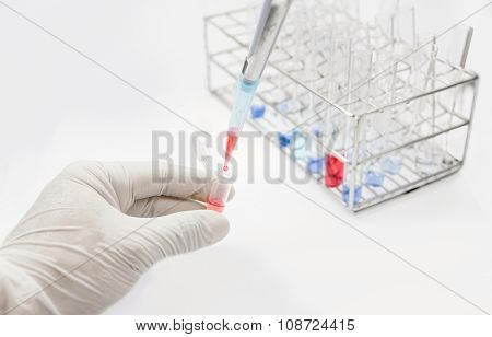 Drop Red Solution In Tube Test Lab