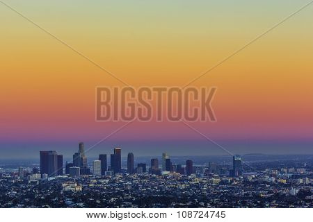 LOS ANGELES, USA - JULY 7, 2013: view to downtown Los Angeles in late afternoon