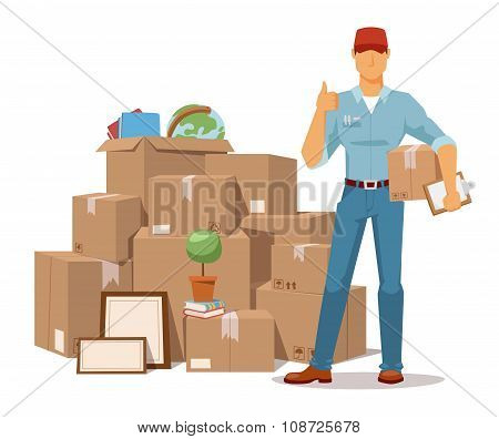 Move service man Ok hand box vector illustration