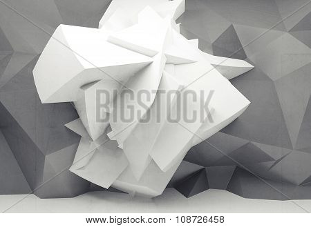 White Chaotic Polygonal Structure On Gray Wall 3D