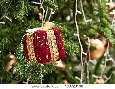 Gift box on a Christmas tree.
