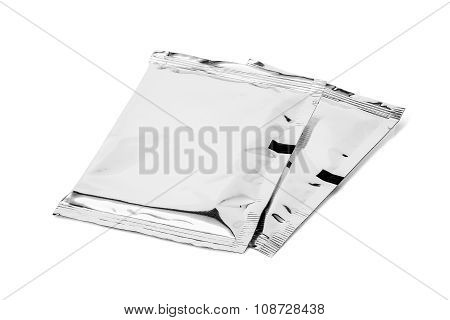 blank packaging foil sachet isolated on white background