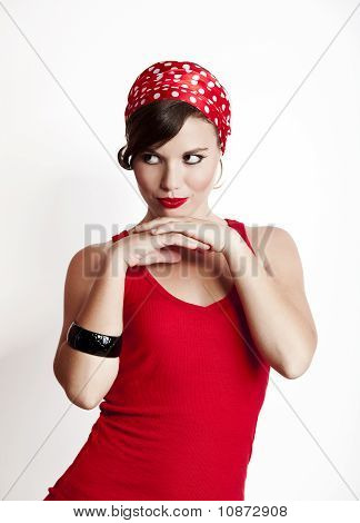 Beautiful and fashion young woman with a pin-up look poster