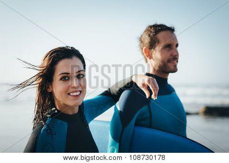 Happy Healthy Bodyboard Couple