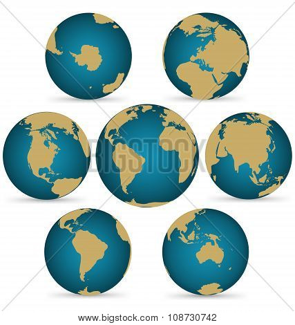 Continent On Rotatable Globe