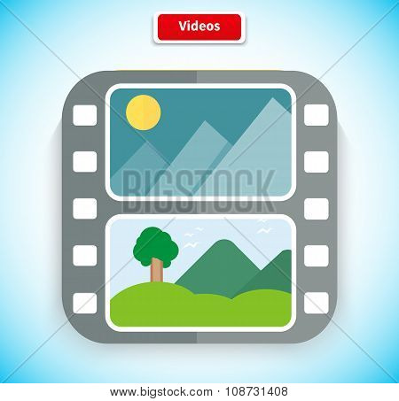 Video App Icon Flat Style Design