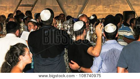 Unidentified Jewish Man Praying On Ceremony Of Simhath Torah . Tel Aviv.