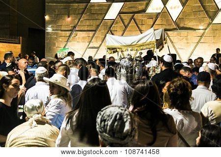 Unidentified Jewish People On Ceremony Of Simhath Torah With Chuppah