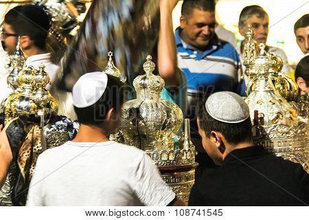 Unidentified Jewish People On Ceremony Of Simhath Torah. Tel Aviv.