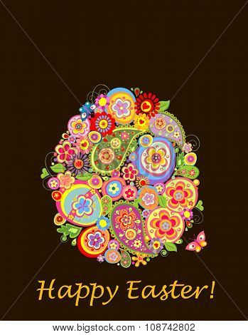 Easter greeting card with decorative eggs