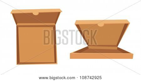 Open pizza box vector illustration. Pizza box delivery service. Craft pizza box isolated on background. Box for pizza, open pizza box. Pizza delivery business, food box, pizza box. Delivery pizza