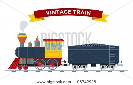Old vintage retro transportation train vector collection. Trains vector illustration on white background. Trains silhouette isolated white. Old vintage retro transportation train cargo vector railway