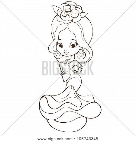 Latin Spanish chibi beauty chibi girl with  rose hairstyle , fan, and dress with the flounce poster