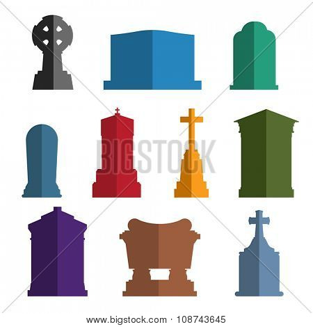 Tombs stone grave vector construction set. Vector tombs icons isolated on white background. Tombs stone grave for dead people. Traditional tombs stone graves from different country. Tombs illustration