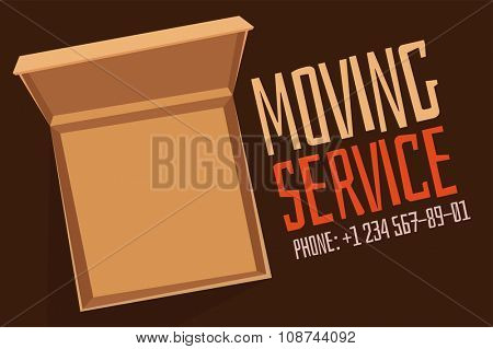 Move service box open vector advertisment banner. Move open box. Craft box banner with phone. Box for moving, open box. Move business, moving box, relocation box. Transportation package cargo service