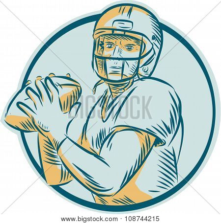 Etching engraving handmade style illustration of an american football gridiron quarterback qb throwing ball viewed from front set inside circle on isolated background. poster