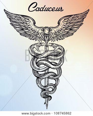 Caduceus symbol of god Mercury illustration.