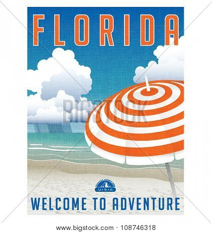 retro travel poster or sticker of a beach in Florida, USA