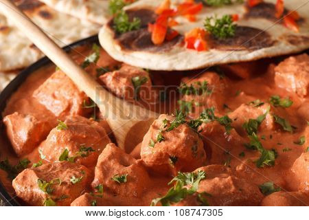 Indian Food Chicken Tikka Masala Macro On A Plate. Horizontal
