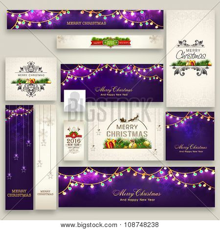 Elegant social media post, headers, ads or banners for Merry Christmas celebration.