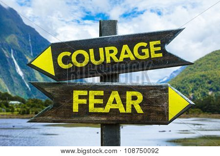 Courage - Fear signpost in a countryside background