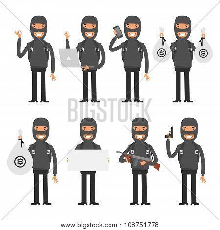 Terrorist in different poses
