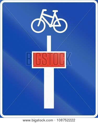 Norwegian Information Road Sign - Dead End For Motor Vehicles