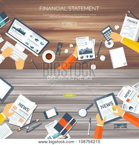 Vector illustration. Flat header. Online news. Newsletter,information. Business, market information.