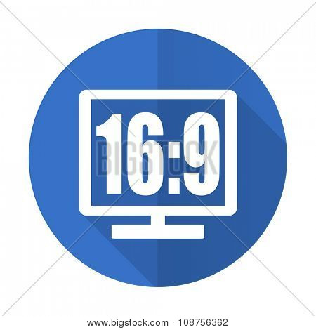 16 9 display blue web flat design icon on white background