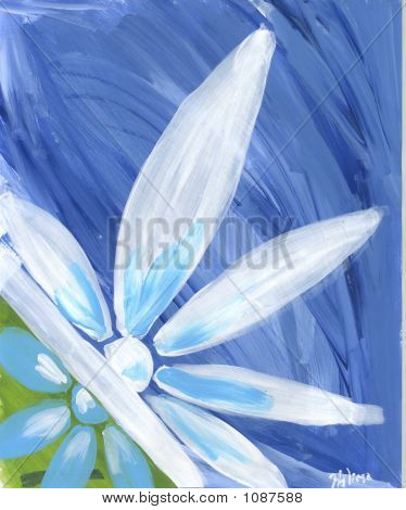 Blue Abstract Flower Original