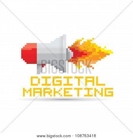 vector flat pixel art megaphone icon .