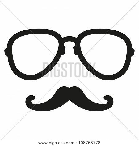 Aviation Nerd Glasses And Mustaches. Vector Hipster