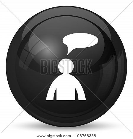 Comments icon. Internet button on white background. - man with bubble poster