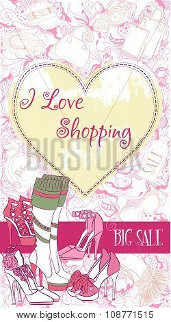 Vector decorative design card with women's shoes