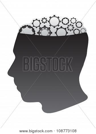 Human Silhouette Head With Abstract Gear Brain