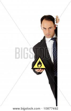 Flammable Goods Sign, Businessman