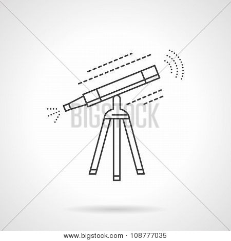 Equipment for sky research. Telescope on tripod. Astronomy symbol, education and science. Flat thin line style vector icon. Single web design element for mobile app or website. poster