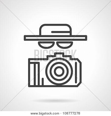 Black simple line spy vector icon