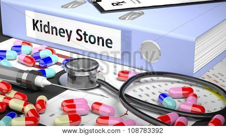 Illustration of doctor's desktop with different pills, capsules, stethoscope, syringe,light blue folder with label 'Kidney Stone'
