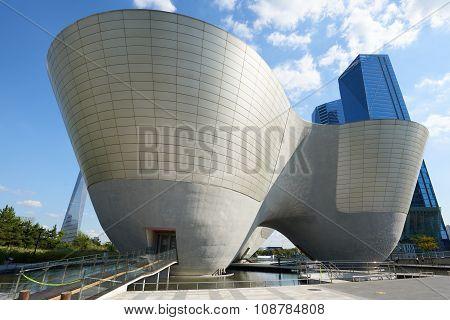 Songdo, Korea - September 07, 2015: Tribowl Cultural Center